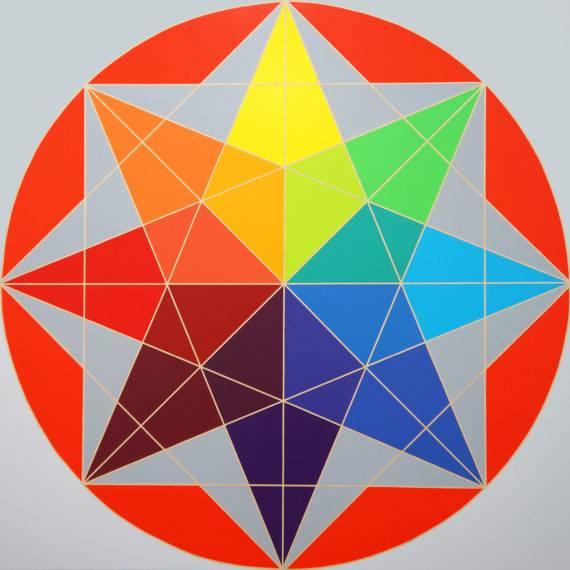 Geometry #75, acrylic on wood panel, 45x45