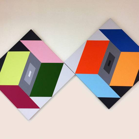 Perception # 54 and 55, Diptych, 58 x 96, Acrylic on Canvas, 2012